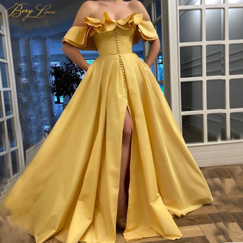 цена на Golden Yellow Evening Dresses 2020 Long Satin A line Ruffle Off Shoulder Slit Formal Gown Side Sleeves Dress Prom Dress Buttons