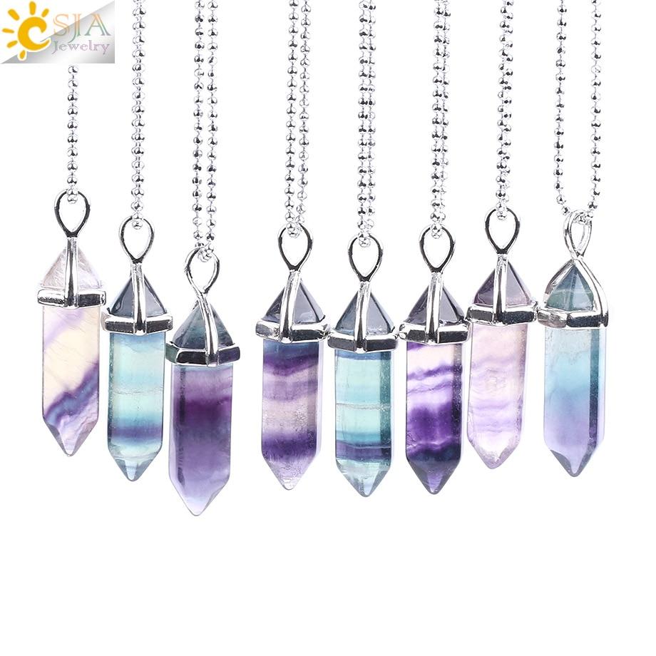 Csja ожерелье из флюорита кулон с натуральным драгоценным камнем кварца пуля шестиугольники маятник Колонка для исцеления чакр с помощью рей...