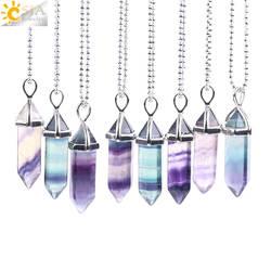 Csja ожерелье из флюорита кулон с натуральным драгоценным камнем кварца пуля шестиугольники маятник Колонка для исцеления чакр с помощью