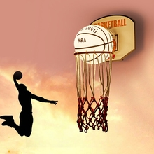 Children #8217 s room basketball wall lamp boy #8217 s bedroom creative cartoon modern lamp LED bedside lamp study NBA basketball wall lamp cheap oein Bed Room Foyer 90-260V Knob switch Glass Clear Glass w5811 LED Bulbs Emergency Hand Knitted Glass Stone Wall Mounted