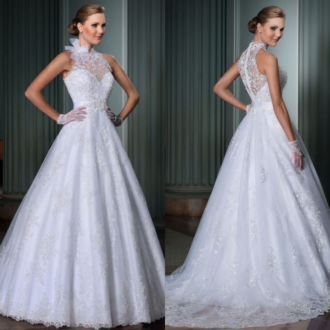 Vestido De Noiva High Neck Wedding Dress 2016 Lace Appliqued Robe De Mariage Vintage Wedding Dress