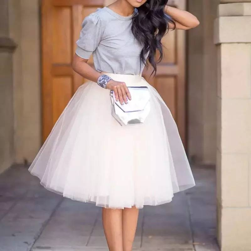 Vintage Women Tutu Tulle Skirts Extra Puffy 7 Layers Tulle Midi Skirt Custom Made Zipper Waist Adult Saia Jupe Faldas