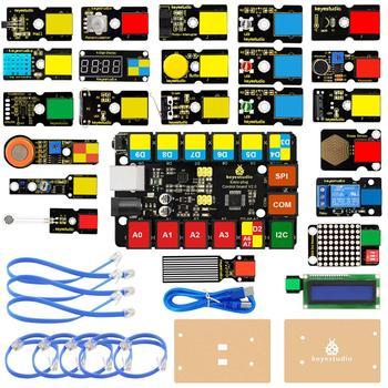 Keyestudio łatwy PLUG RJ11 Super startowy nauki zestaw do Arduino macierzystych EDU kompatybilny z Mixly blok kodowania tanie i dobre opinie Super Starter Learning Kit 0-40