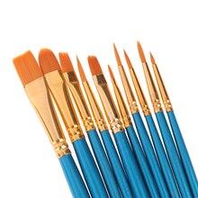 10 шт набор кистей для рисования для художника нейлоновые волосы акварельные акриловые кисти для живописи маслом Рисование художественные принадлежности