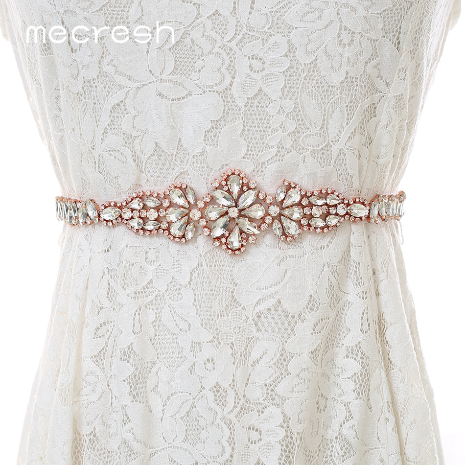 Mecresh Rose Gold Wedding Dress Belt Rhinestone Belt Bridal Accessories Women Crystal Flower Ivory Pink Belt Sash 270CM MYD035