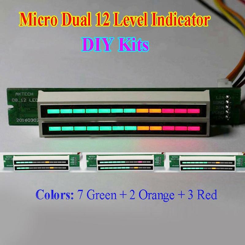 100% Brand New Dual 12 Stereo Level Indicator DIY Kit LED VU Meter Lamps Light Speed Adjustable