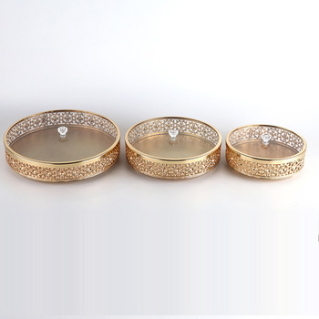 Metal Tray Luxury Gold Finish Hollow Home Storage Round Kitchen Tool Wedding Centerpieces Table Decoration winsome home decor traditional xola console table cappuccino finish