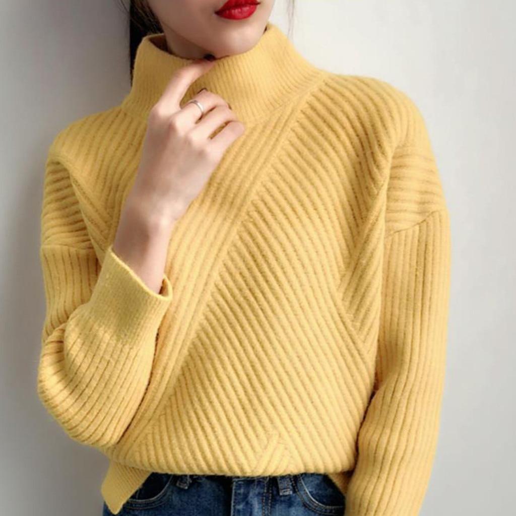 Women Winter Casual Turtleneck Sweater Loose Fashion Knitted Sweater V-Neck Long Sleeve Stylish Dailywear Slim Basic Sweater