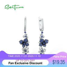 SANTUZZA الفضة أقراط للنساء نقية 925 فضة استرخى الأزرق الفراشة أقراط brincos مجوهرات الأزياء