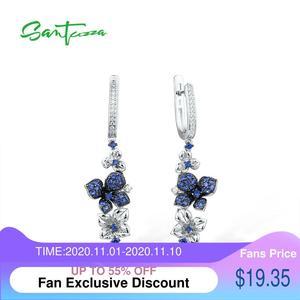 Image 1 - Женские серебряные сережки SANTUZZA из чистого серебра 925 пробы с синими бабочками, модные ювелирные изделия