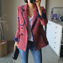 2020 spring autumn women Korean casual tassel plaid tweed blazers OL elegant vin
