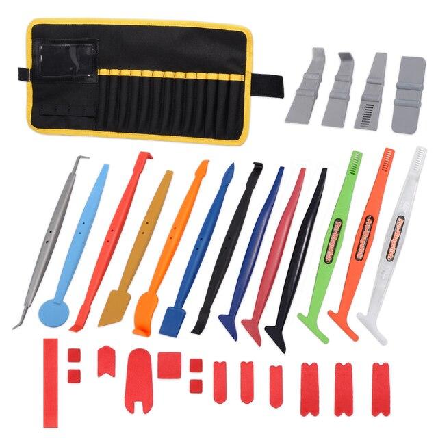 EHDIS 32PCS vinile pellicola per Auto avvolgere magnete Stick tergipavimento Set finestra tinta bordo feltro morbido raschietto adesivo in fibra di carbonio Kit di strumenti Auto