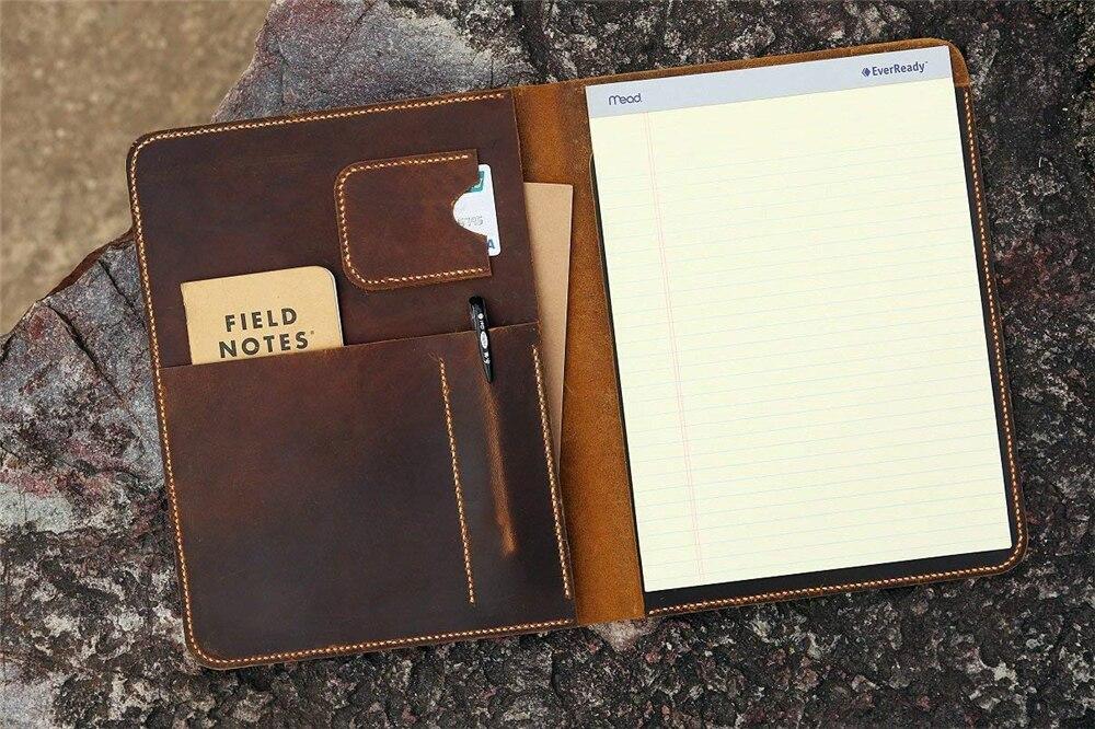 Винтажный кожаный большой блокнот портфель для документов чехол для письма/многоразовый блокнот органайзер в кожаной обложке Чехол NA4005S