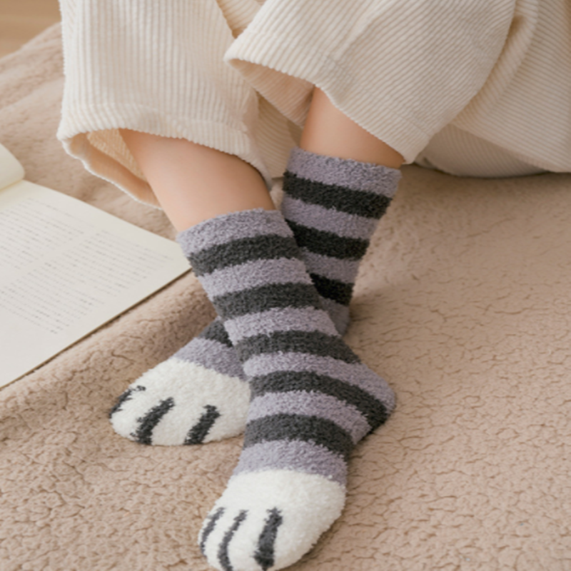 1Pair Girl Softs Coral Fleece Bed Floor Thicken Stripe Cat Claw Socks Fluffy Winter Warm Breathable Pure Sleeping Sock For Women