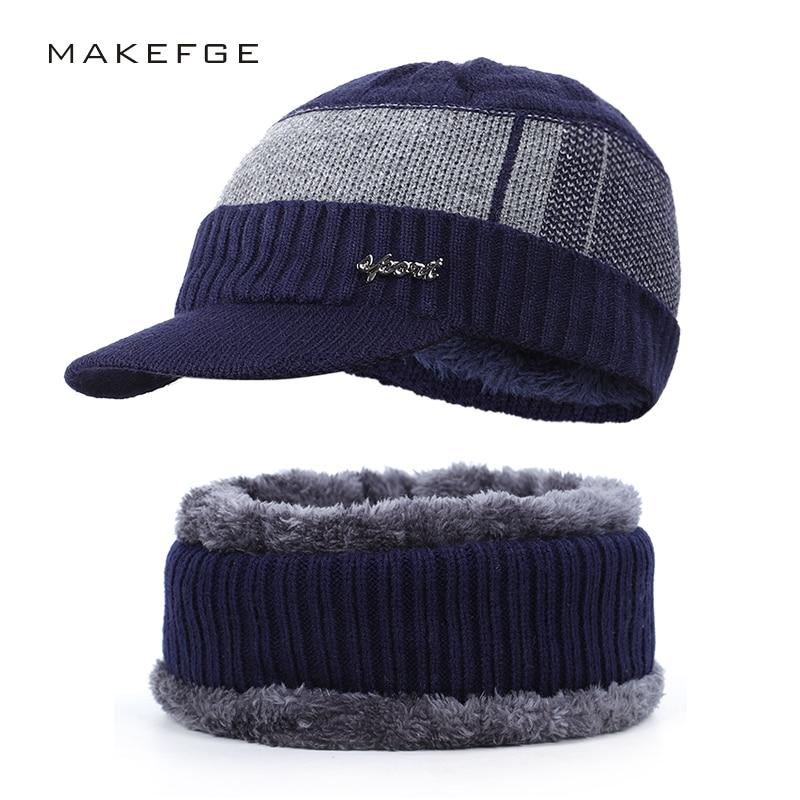 2019 Fashion Men And Women Winter Cotton Hat Scarf Set Outdoor Warm Cotton Cap Bib 2 Sets Plus Velvet Thick Letters Striped Hat