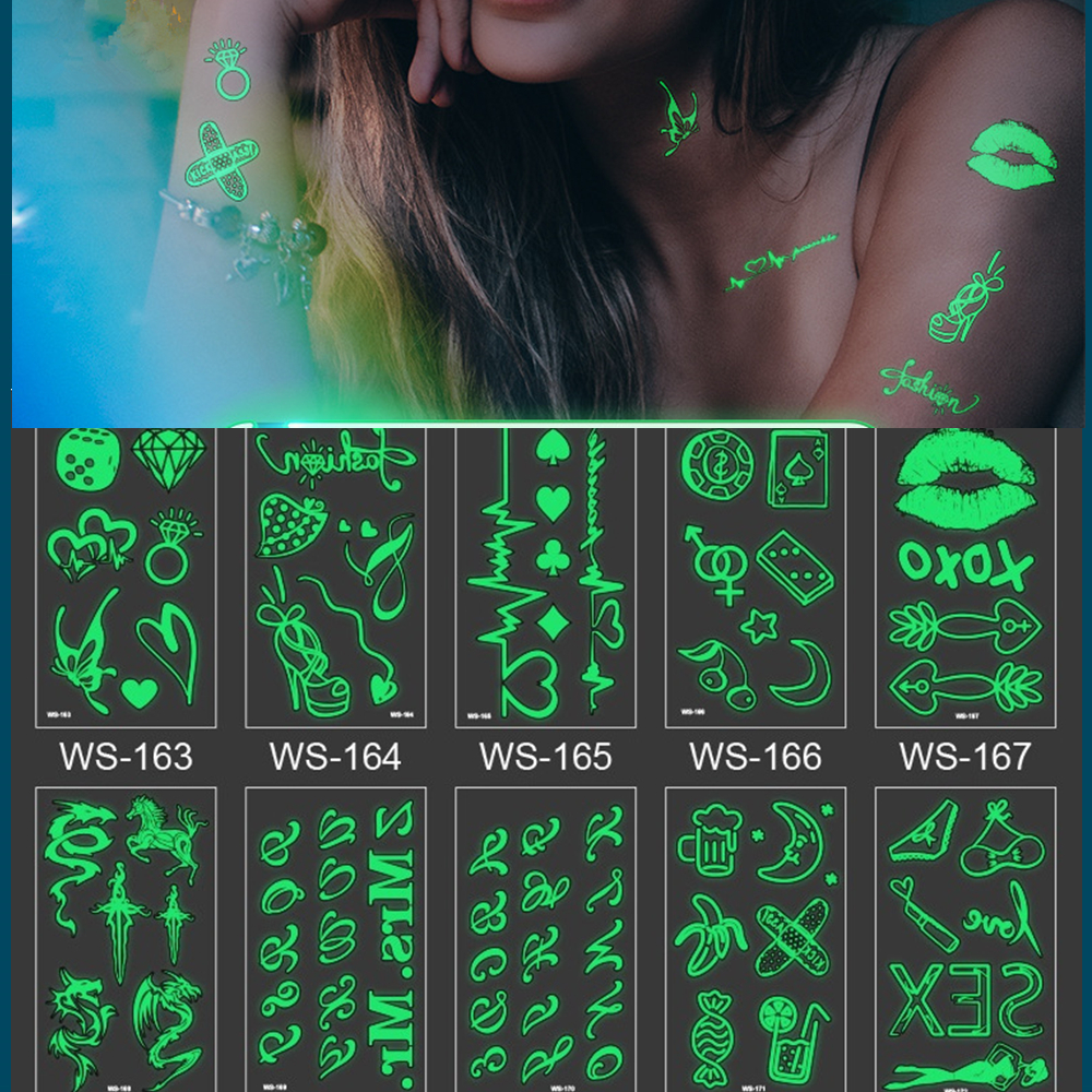 20 kinds Stylish Design Luminous Tattoo Fashion Temporary Body Sticker Club Party Disposable Noctilucent tatouage temporaire