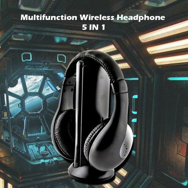 سماعة رأس لاسلكية لاسلكية RF هيئة التصنيع العسكري لأجهزة الكمبيوتر TV DVD CD MP3 MP4 5 في 1 سماعة ستيريو لاسلكية