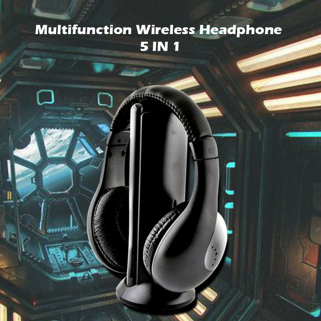Wireless Headphone Cordless RF Mic for PC TV DVD CD MP3 MP4 5 in 1 Wireless Stereo Headset
