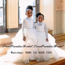 White Sheer Lace Flower Girls Dresses With Long Sleeves 2020 Little Kids Long Tired Ball Gown Birthday Comunion Dress Pageant