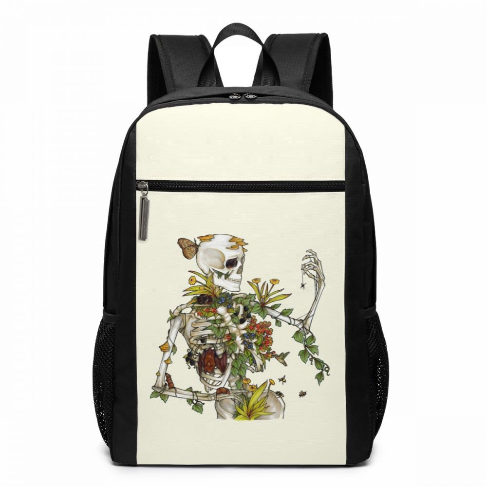 Human Skeleton Print Drawstring Backpack Rucksack Shoulder Bags Sports Portable Bag