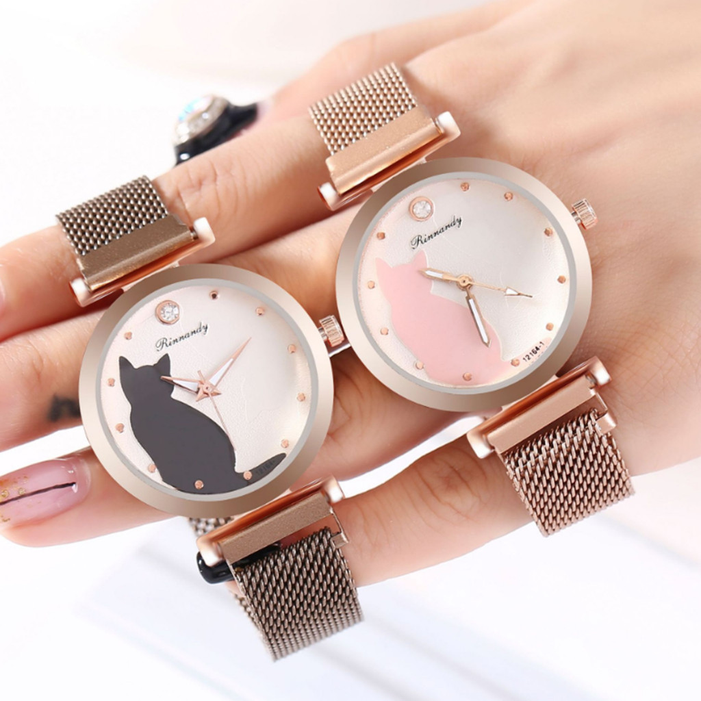 Fashion Simple Women Watches Ladies Watch Cute Cat Dial Magnet Buckle Alloy Watch Rose Gold Clock часы женские Reloj Mujer /d