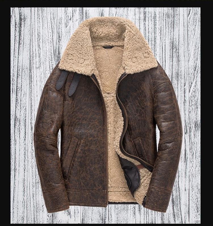 H566972e91885440286da06d787015432I Free shipping,Winter thick Genuine Sheepskin coat,B3 Wool Shearling,warm fur jacket,mens plus size genuine leather jackets.