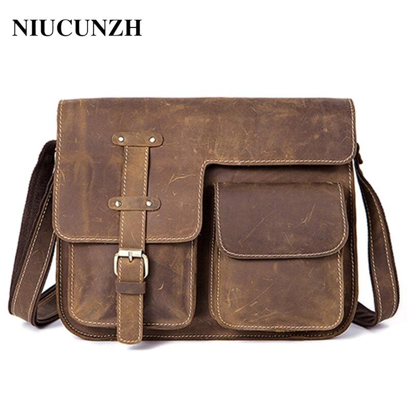 NIUCUNZH men's shoulder bag crazy horse genuine leather men's bags messenger bag men's crossbody bag for men vintage