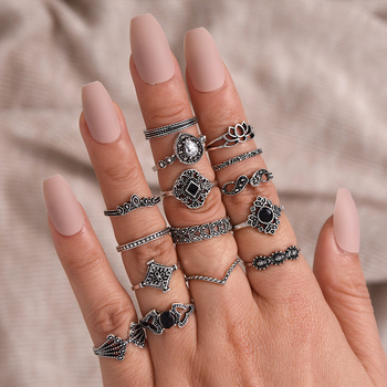 LATS New 15 Pcs/set Bohemian Retro Crystal Flower Leaves Hollow Lotus Gem Silver Women Ring Set 2020 Female Bohemian Jewelry 3