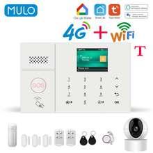 MULO Wifi GSM Alarm System for Home Wireless Security Burglar System Kit 2G 4G Smart Life Tuya app Control work with Alexa
