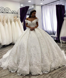Image 2 - Arabic Lace Ball Gown Weddings Dresses lace Off The Shoulder Chapel Wedding gown Sequins Beaded Plus Size Bridal Gown