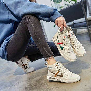 Real Leather womens shoes Flat shoes women Sneakers white shoes woman Loafers 2020 New Platform sneakers Non-slip board shoes