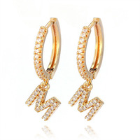 LUXE GOLD OR SILVER CUBIC ZIRCONIA INITIAL EARRINGS 1