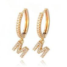 Boucles d'oreilles en zircon cubique, 1 paire, lettre initiale a-z, Alphabet, goutte, petit cercle, pour femmes, bijoux, 2020