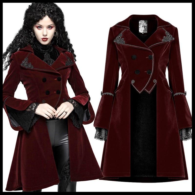 PUNK RAVE Women Gothic Lolita Medium Long Coat Steampunk Retro Palace Party Women Jacket Stage Perform Women Long Jacket
