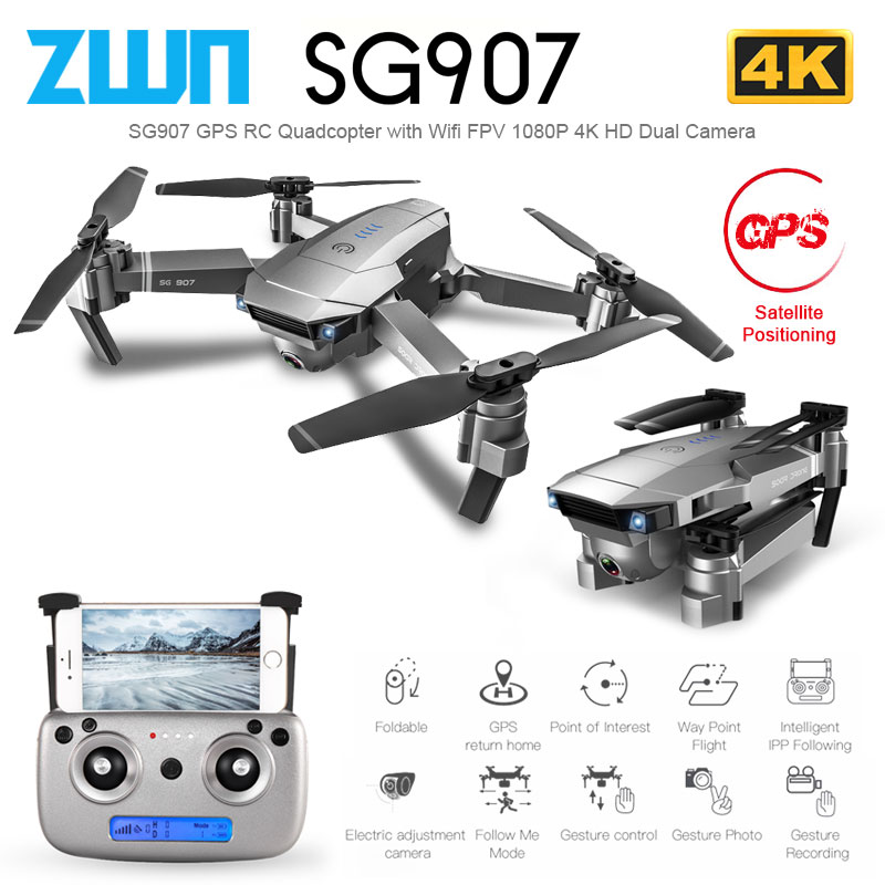 ZWN SG907 SG901 GPS Drone with Wifi FPV 1080P 4K HD Dual Camera Optical Flow RC Quadcopter Follow Me Mini Dron VS SG106 E520S image