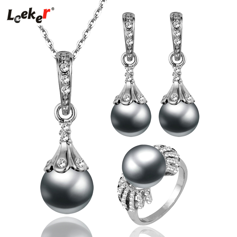 LEEKER 2020 Hot Sale Vintage Imitation Pearl Wedding Jewelry Set Silver Color Necklace Earring Ring Set For Women Gifts 252 LK6