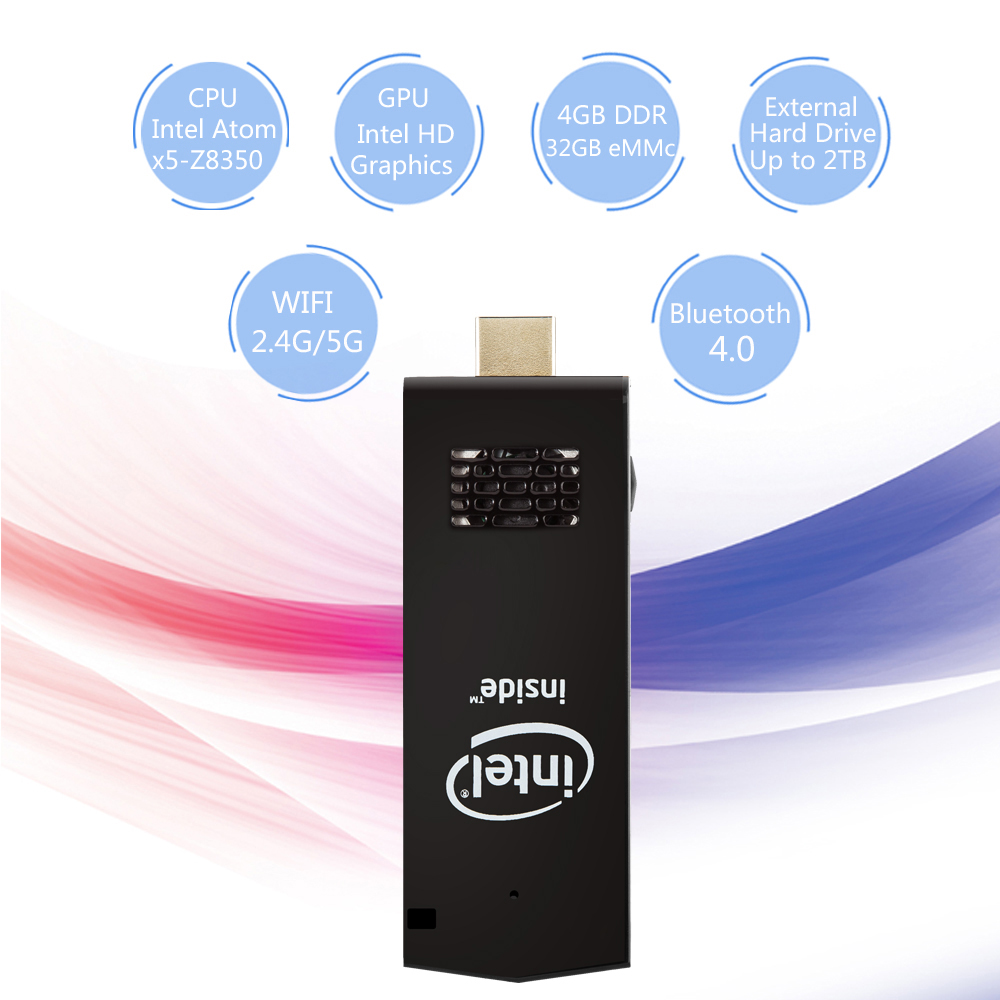 W5 Pro Pc Dongle Tv Box Intel X5 Z8350 Quad Core T5 Win 10 Mini Pc Intel PC Stick