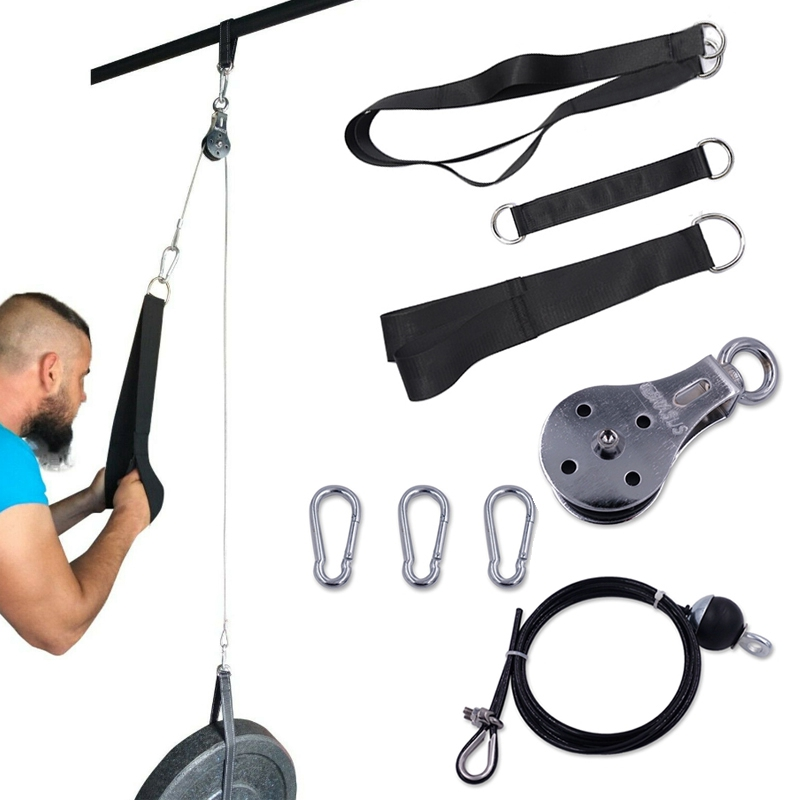 Pulley Cable Machine Attachment System Arm Biceps Triceps Fitness DIY Blaster Hand Strength Trainning Home Gym Workout Equipment