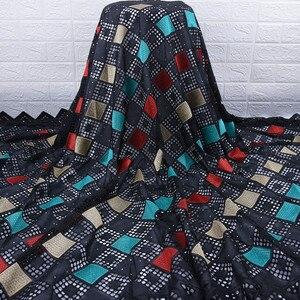 Image 1 - Son afrika dantel kumaş yüksek kaliteli nijeryalı günü dantel kumaş delikli nakış İsviçre saf pamuklu kumaş günlük WearA1754