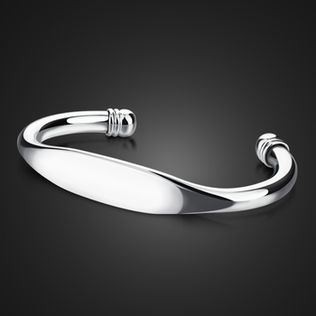Uomo alla moda braccialetto in argento sterling. Semplice braccialetto liscio sia gli uomini e le donne. Solido 925 braccialetto dargento. Fascino degli uomini dei monili