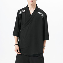 #3903 Summer Black White Kimono Jacket Men V Neck Streetwear Cardigan Hip Hop Coat Mens Embroidery Clothes Loose Plus Size 5XL