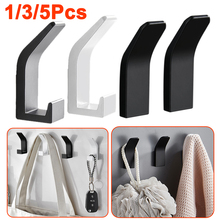1/3/5 Pcs Aluminum Self Adhesive Wall Hanger Hook Black White Coat Bag Robe Clothes Towel Hook for Bathrooms Kitchen Accessories