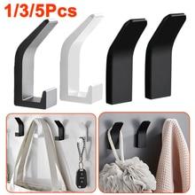 1/3/5 Pcs Aluminum Self Adhesive Wall Hanger Hook Black White Coat Bag Robe Clothes Towel Hook for Bathrooms Kitchen Accessories