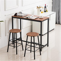 PVC Wood Grain Simple Bar Table Tound Bar Stool (One Table And Two Stools) MDF Steel Light Brown Table Set For Home Public Place