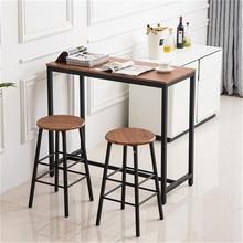 PVC Wood Grain Simple Bar Table Tound Bar Stool (One Table A