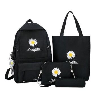 4Pcs/set Women School Backpacks Schoolbag Daisy Canvas For Teenagers Girls Student Book Bag Boys Satchel Bolsas Mochilas Sac