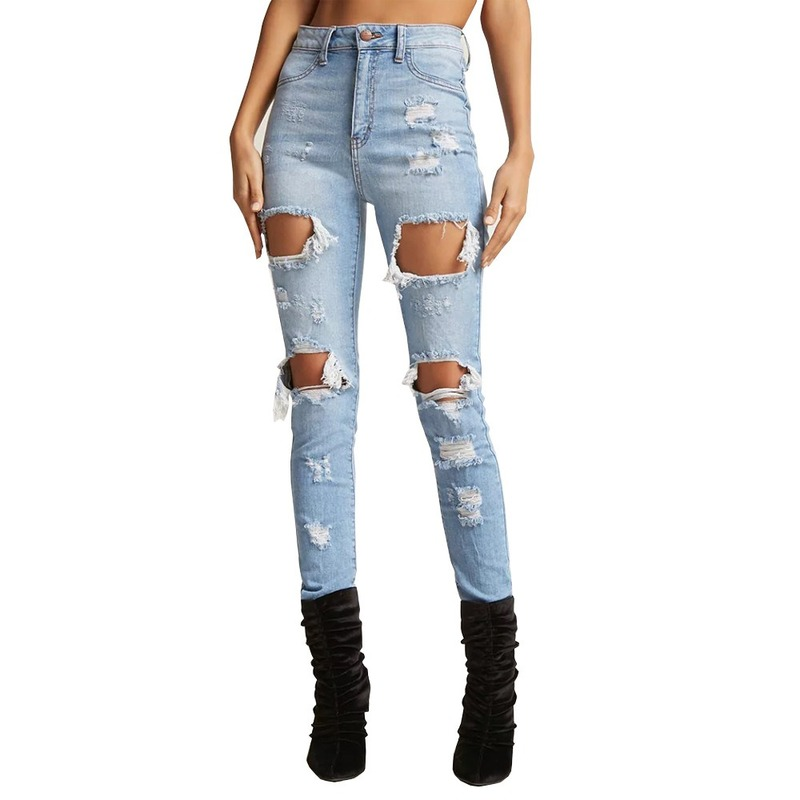 Summer Autumn Hole Ripped Jeans Women Streetwear High Waist Skinny Jeans Jeggings Denim Pencil Trousers Plus Size