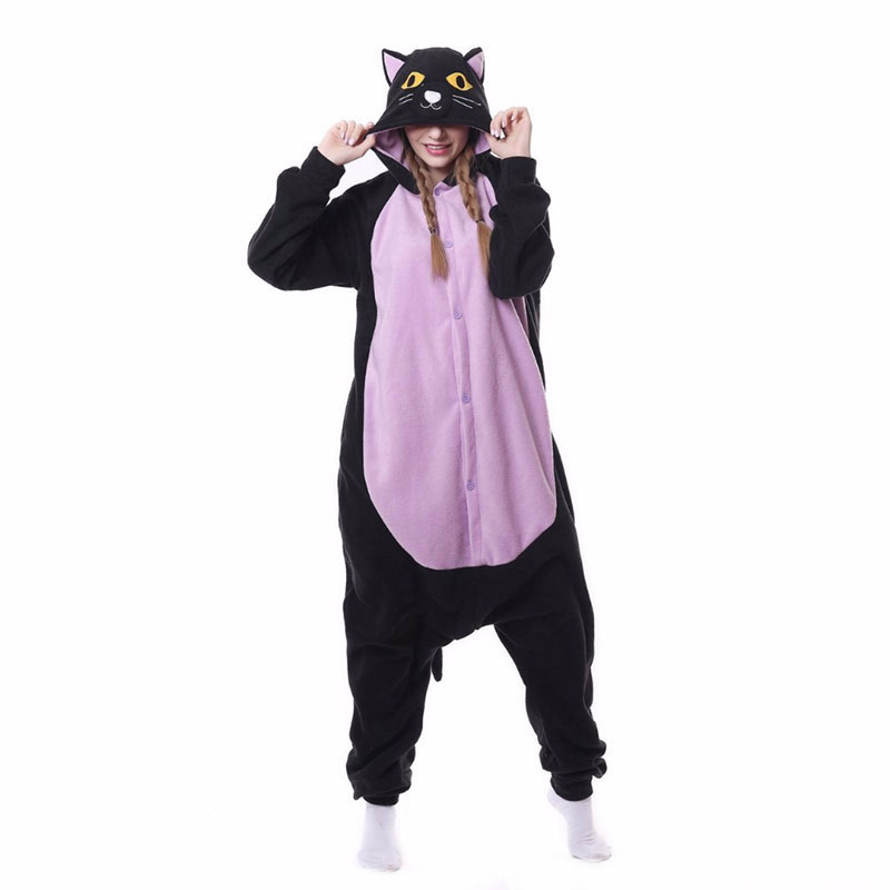 Black Purple Cat Kigurumis Halloween Pajama Adult Women Men Sleepwear Funny Outfit Animal Belly Cat Jumpsuit Onesie Cartoon Suit