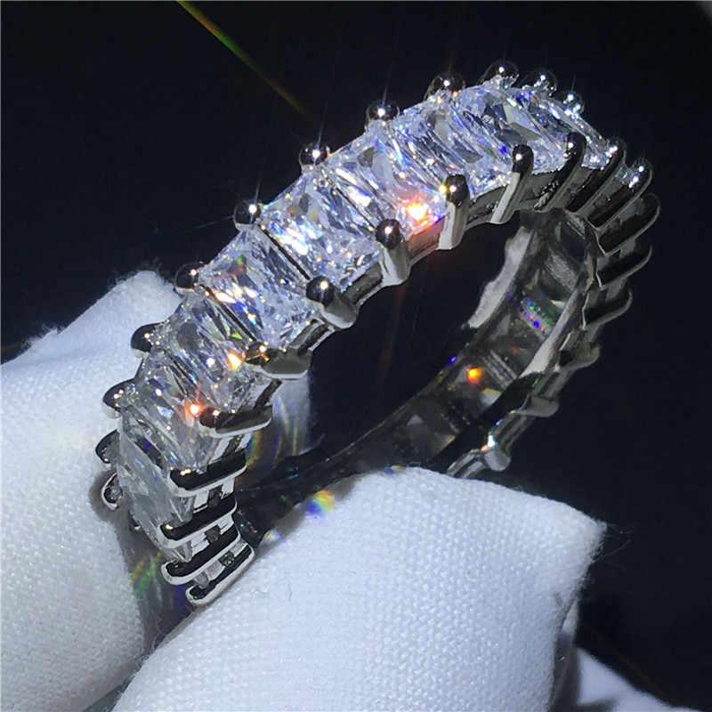 Anillo de compromiso de la banda Eternity de valor 925 plata esterlina Bijou AAAAA cz anillos de compromiso para mujeres y hombres regalo de joyas de fiesta