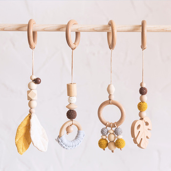 Baby Wooden Toys Bedsside Pendant Baby Fitness Play Wooden Beads  Wood Teether Rattle Mobile Bed Bell Toy Baby Supplies Bell Toy